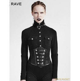 Black Gothic Military Uniform Girdle S 184