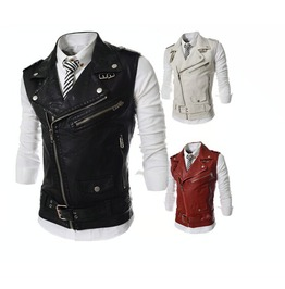 Punk Turn Down Collar Multi Zipper Faux Leather Men Motorcycle Vest B5641