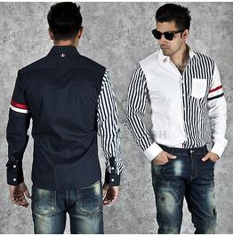 Stripe Contrast Slim Shirts 134