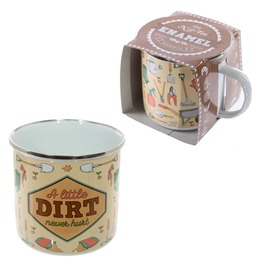 Egg N Chips London Fun Enamel Mug A Little Dirt Never Hurt