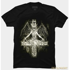 Black Gothic Rock Cross Printing T Shirt For Men