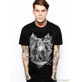 Black Gothic Masked Woman Pattern T Shirt For Men