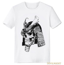 White Gothic Masked Woman Pattern T Shirt For Men