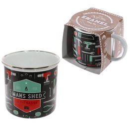 Egg N Chips London Fun Enamel Mug Man Shed Is His Castle