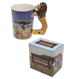Egg N Chips London Novelty Ceramic Safari Mug With Standing Lion Handle
