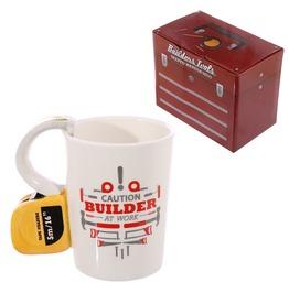 Egg N Chips London Novelty Shaped Handle Ceramic Tool Mug Tape Measure
