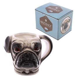 Egg N Chips London Novelty Shaped Handle Ceramic Pet Mug Pug Head