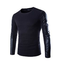 Men black autumn long sleeved t shirt with faux leather sleeves shirts