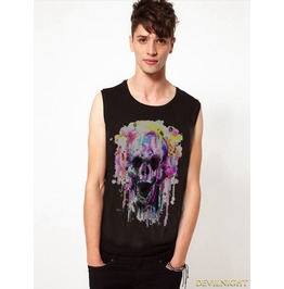 Black Gothic Muticolor Printing Sleeveless Shirt For Men