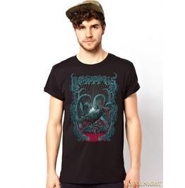 Black Gothic Bird Printing Fashion T Shirt For Men