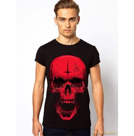 Black And Red Gothic Amazing Skull T Shirt For Men