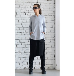 Grey Casual Top/Long Sleeve Hoodie/Loose Open Back Shirt/Hooded Tunic Top