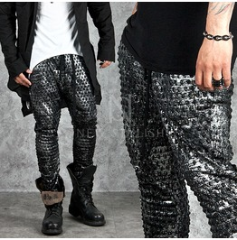 Glossy Embossed Zipper Baggy Sweatpants 194