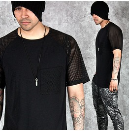 Mesh Sleeves Accent Black Rount T Shirts 570