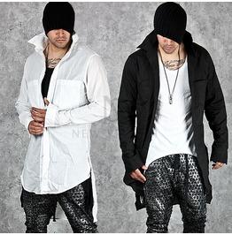 Unblanced Hem Accent Double Pocket Long Shirts 135