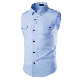 Men's Plus Size Sleeveless Casual Shirt With Epaulet