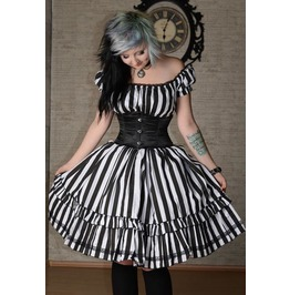 Black White Stripe Pirate Gothic Rockabilly Ruffle Corset Dress