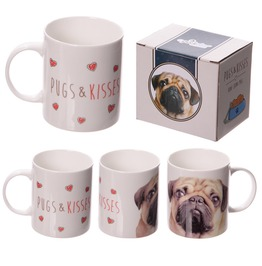 Egg N Chips London New Bone China Mug Cute Love Pugs