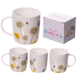 Egg N Chips London New Bone China Mug Decorative Dandelion Pattern