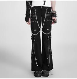 Women's Punk Zippers Metal Chains Bell Bottom Pants K 028