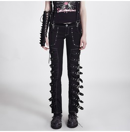Punk Rave Unisex Buckle Up Straps Straight Leg Pants With Suspenders K 095