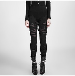 Punk Rave Women's Punk Ripped Black Leggings K 099