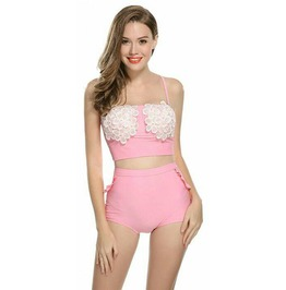 Rockabilly Two Piece Flora Pink Swimsuit Vintage Retro Women Swimwear