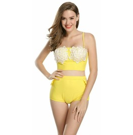 Rockabilly Two Piece Flora Yellow Swimsuit Vintage Retro Women Swimwear