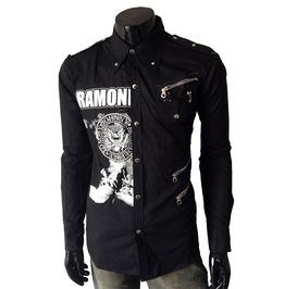 Ramones Men Casual Black Rock Shirt Slim Fit Shirt Unique Mens Long Sleeve