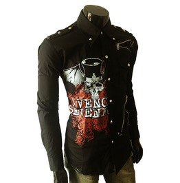Avenged Men Casual Black Rock Shirt Rock Punk Shirt Unique Mens Long Sleeve