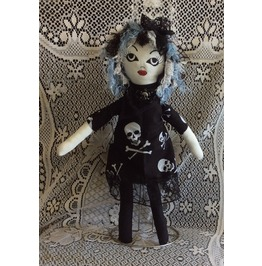Goth Girl Handmade Gothic Ragdoll With Skull Dress Trimmed In Black Lace