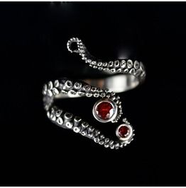 Steampunk Antique Silver Adjustable Red Gem Octopus Ring