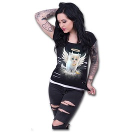 Women,S New White Cute Kitten Angel T Shirt