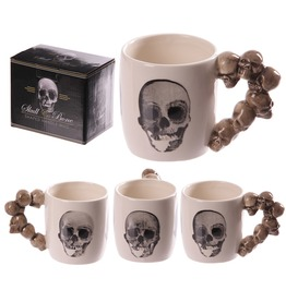 Egg N Chips London Novelty Skulls Stack Shaped Handle Ceramic Mug