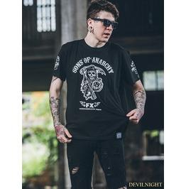 Black Gothic Skeleton And Gun Printing T Shirt For Men
