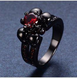 Black rhinestone jewel skull ring rings
