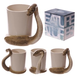 Egg N Chips London Fun Snake Shaped Handle Brown Snake Ceramic Mug