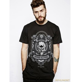 Black Gothic Punk Cotton Printing T Shirt For Men