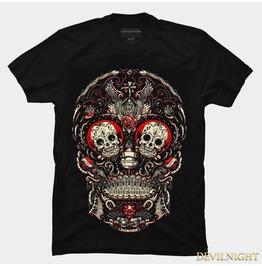 Black Gothic Original Design Skull Printing T Shirt For Men