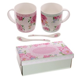 Egg N Chips London Chintz Design New Bone China Mug Set For 2 With Spoons
