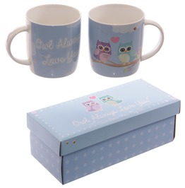 Egg N Chips London Cute Love Owls New Bone China Mug Set For 2