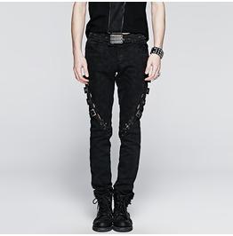 Punk Rave Men's Punk Straps Lace Up Casual Pants K 216