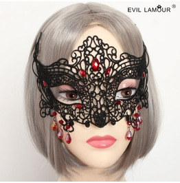 Handmade Black Lace Red Jewelry Pendent Halloween Gothic Mask Mk 4