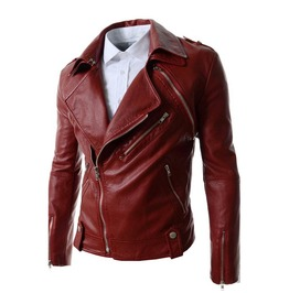 Faux Leather Turn Down Collar Motorcycle Jacket With Detachable Sleeves