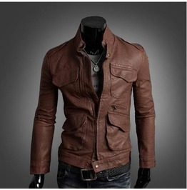 Men's Stand Collar Multi Pockets Faux Leather Zip Up Slim Moto Jackets