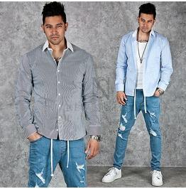 Contrast Collar Accent Stripe Slim Shirts 136