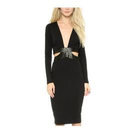 Fashion Leather Trim Geometry Hollow Side Dress Sexy Low V Neck Slim Dress