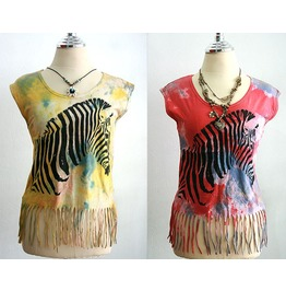 """New Lady Tie Dyed Zebra Graphic T Shirt Top Bust 31"""" Size S"""