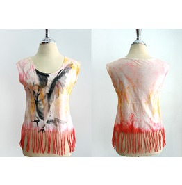 """New Lady Tie Dyed Bird Graphic T Shirt Top Bust 31"""" Size S"""