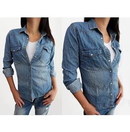 "New Lady Women Soft Denim Shirt Snap Long Sleeve Size S 36"", M 38"",L 40"""